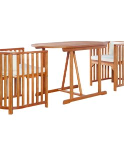 Urban Lifestyle 3-tlg. Bistro-Set mit Auflagen Massivholz Eukalyptus