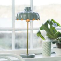 Wells bordslampa, Green/Gold 50cm